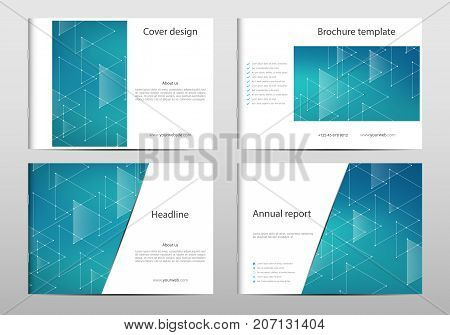 Rectangle brochure template layout, cover, annual report, magazine in A4 size with triangle graphics. Geometric abstract background. Technological and scientific concept. Vector illustration
