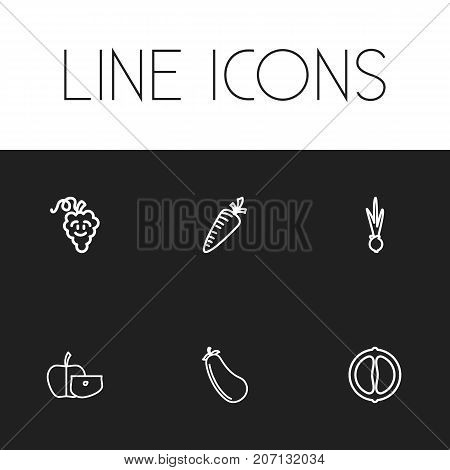 Set Of 6 Editable Food Outline Icons. Includes Symbols Such As Mandarin, Apple Slice, Carrot