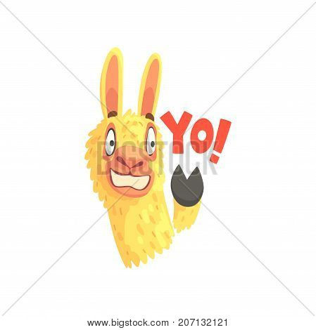 Funny llama character waving its hoof saying Yo, cute alpaca animal cartoon vector Illustration on a white background
