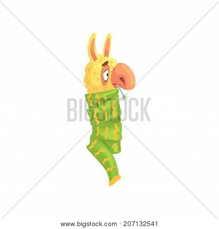 Sick llama character wrapped green scarf with thermometer in his mouth, cute alpaca animal cartoon vector Illustration on a white background
