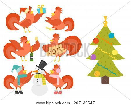 Cute cartoon rooster illustration chicken farm animal agriculture domestic character. Hen fowl color beak fowl cockerel organic christmas symbol.