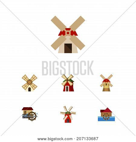 Flat Icon Mill Set Of Windmill, Propeller, Rural And Other Vector Objects