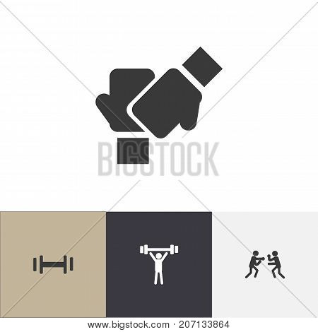 Set Of 4 Editable Training Icons. Includes Symbols Such As Gauntlet, Heft, Bodybuilding And More