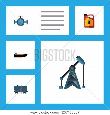 Flat Icon Oil Set Of Jerrycan, Boat, Flange And Other Vector Objects