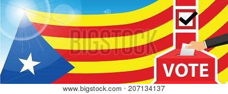 Statute of Autonomy of Catalonia - voting at the ballot box. hand putting paper in the ballot box. Catalan flag on sky background. vector illustration.