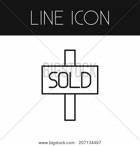 Rent Vector Element Can Be Used For Sold, Sign, Rent Design Concept.  Isolated Sold Sign Outline.