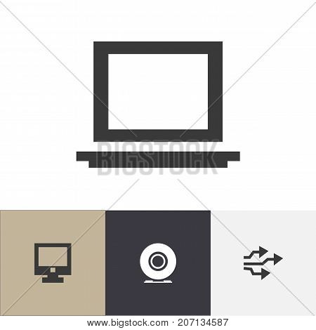 Set Of 4 Editable Computer Icons. Includes Symbols Such As Portable Computer, Universal Serial Bus, Compact Disk And More
