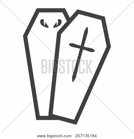 Halloween Coffin line icon, halloween and scary, dead sign vector graphics, a linear pattern on a white background, eps 10.