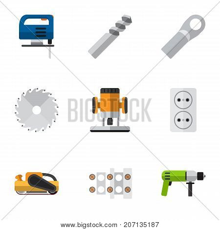 Set Of 9 Editable Instruments Flat Icons. Includes Symbols Such As Terminal Block, Jig Saw, Connection And More