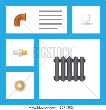 Flat Icon Sanitary Set Of Heater, Industry, Roll And Other Vector Objects