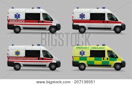 Emergency ambulance set. Special medical vehicles. Design of different countries of the world. Realistic image. Vector illustration