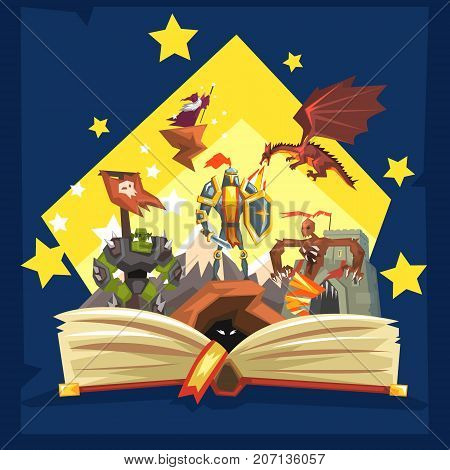 Open book with legend, fairy tail fantasy book with knights, dragon, wizard, imagination concept vector Illustration