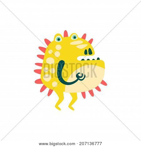 Funny yellow barbed cartoon monster, fabulous incredible creature, cute alien vector Illustration on a white background