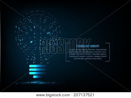 Bulb as idea of creative technology. concept of big ideas inspiration innovation invention effective thinking. text