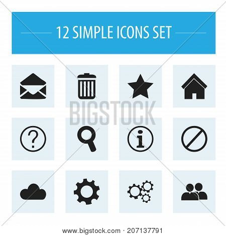 Set Of 12 Editable Web Icons. Includes Symbols Such As Home, Faq, Sky And More