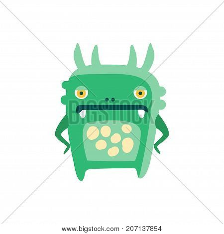 Funny green cartoon monster, fabulous incredible creature, cute alien vector Illustration on a white background