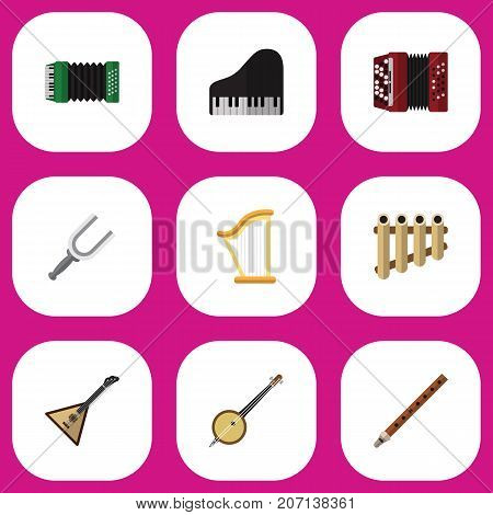 Set Of 9 Editable Mp3 Flat Icons. Includes Symbols Such As Instrument, Strings, Harmonica And More