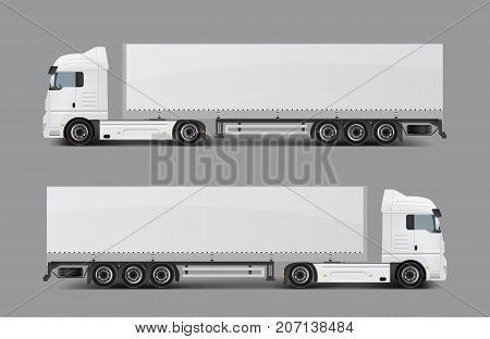 Blank white cargo truck with tented semi-trailer side view realistic vector template. Modern commercial transport for heavy loads transportation, delivery vehicle ready for brand, corporate ad mockup