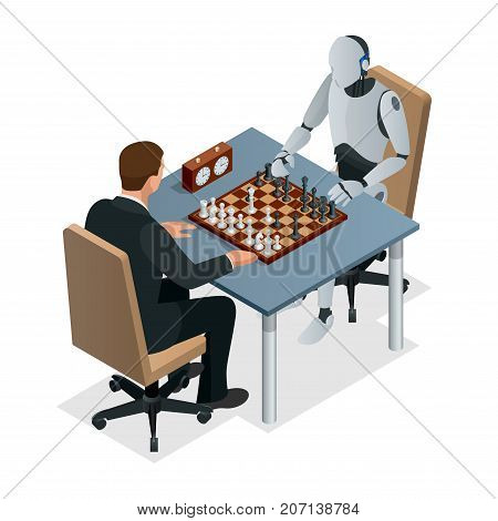 Isometric chess game with artificial intelligence concept. Artificial intelligence technology. Robot hand plays chess, arm makes a move with rook isolated vector illustration.