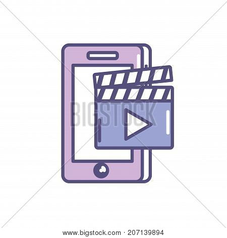 smartphone technology with clapperboard video vector illustration