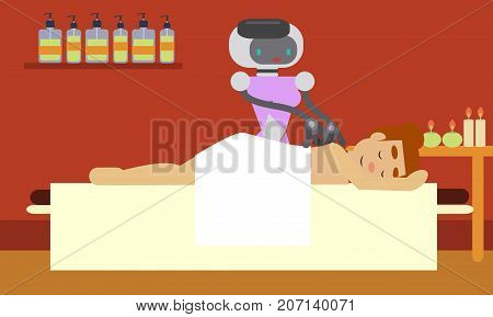 Domestic robot masseur giving spa to beautiful young woman. Personal robot assistance futuristic concept illustration vector.