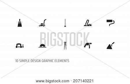 Set Of 10 Editable Equipment Icons. Includes Symbols Such As Sweeper, Chisel Scraper, Clamp And More poster