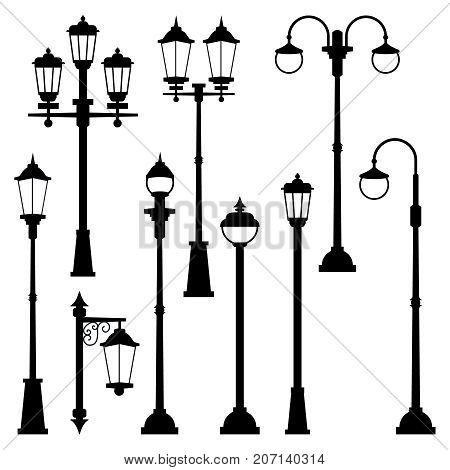 Old street lamps set in monochrome style. Vector illustrations isolate. Urban lantern streetlight classic