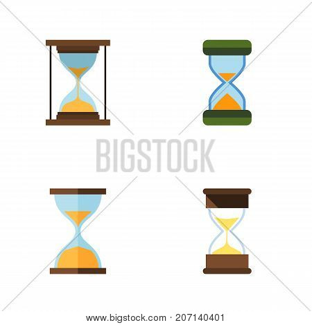 Flat Icon Timer Set Of Hourglass, Sand Timer, Clock Vector Objects
