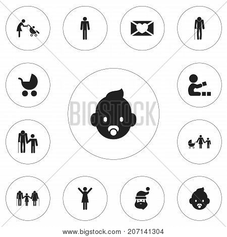 Set Of 12 Editable Relatives Icons. Includes Symbols Such As Newborn Baby, Family, Perambulator And More