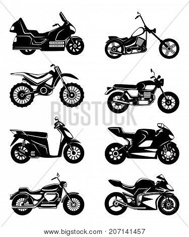 Silhouette of motorcycles. Vector monochrome illustrations set. Black white motorbike speed, chopper transport