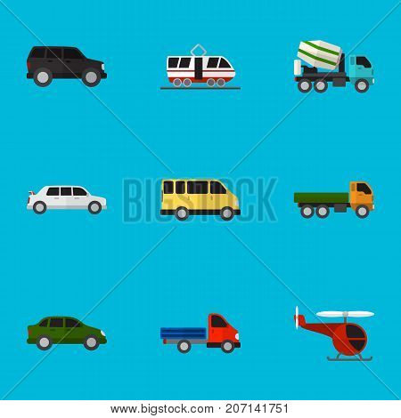 Set Of 9 Editable Vehicle Flat Icons. Includes Symbols Such As Chopper, Limousine, Truck And More