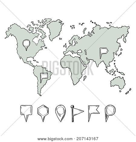Doodle illustrations of world map with hand drawn pins. Vector pictures isolate. World map hand drawn and collection of pins