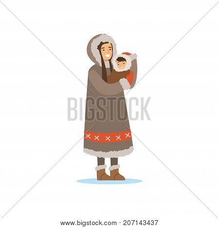 Eskimo, Inuit, Chukchi woman in traditional costume holding baby in her hands, northern people, life in the far north vector Illustration on a white background