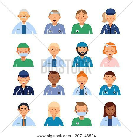 Male and female medical characters in different professional clothes. Peoples in hospital avatar set. Professional doctor specialist, medicine physician illustration