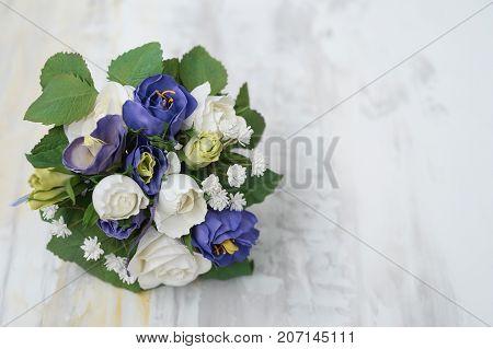 Handmade Brooch Bouquet / Fabric Wedding Bouquet / Silk Flower Style Cabbage Roses