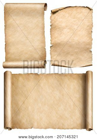 old scroll, parchment, papyrus realistic 3d illustration set