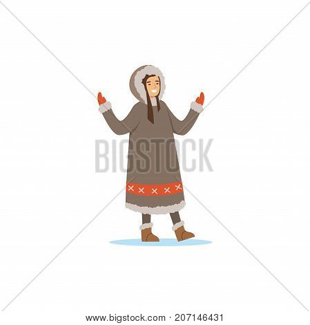 Smiling Eskimo, Inuit, Chukchi woman in traditional costume, northern people, life in the far north vector Illustration on a white background