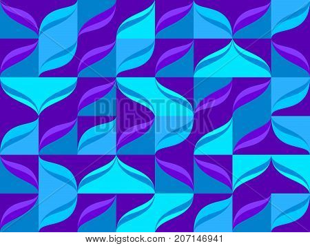 Seamless pattern from blue color tiles and waves background. Abstract vector blue waves motion pattern from square tiles illustration.