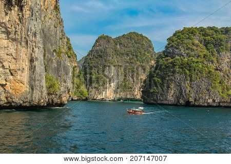 Maya Bay At Phi Phi Archipelago In Thailand