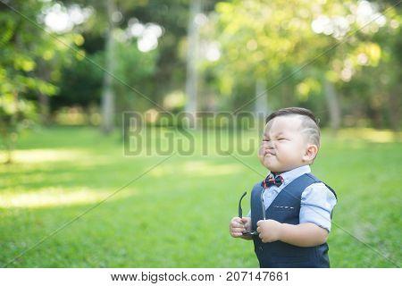 Portrait of cute little boy portrait fashion