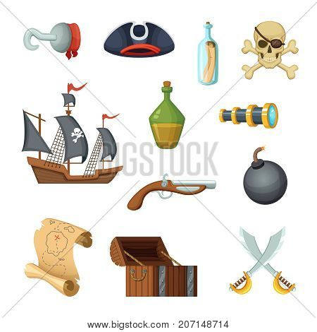Different icon set of pirate theme. Skull, treasure map, battle ship of corsair and other objects in vector style. Illustration of pirate ship, treasure and skull, sword and bottle rum
