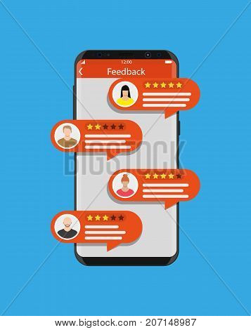 Smartphone with rating app. Bubble speeches and avatars. Reviews five stars rating with good and bad rate and text. Testimonials, rating, feedback, review. Vector illustrayion in flat style