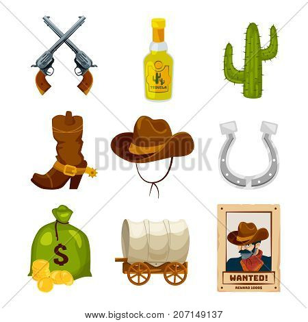 Cartoon icon set for wild west theme. Vector illustrations isolated. Wild west american western, cactus and horseshoe, sack of money and tequila