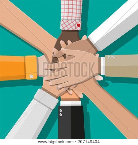 People showing unity with their hands together. Crossed hands. Multiethnic group and human diversity. Business, team work, cooperation and partnership. Vector illustration in flat style