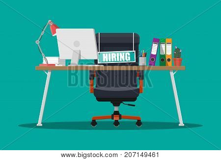 Office chair, sign vacancy. Table with office items. Hiring and recruiting. Human resources management concept, searching professional staff work. Found right resume. Vector illustration in flat style