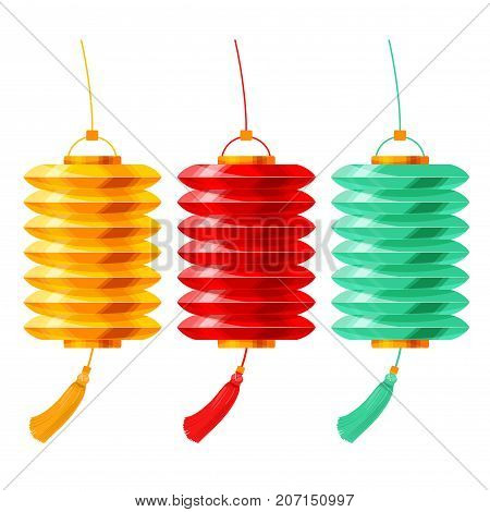 Vector set of colored Chinese paper lanterns. Vector illustration. Isolated on white background.