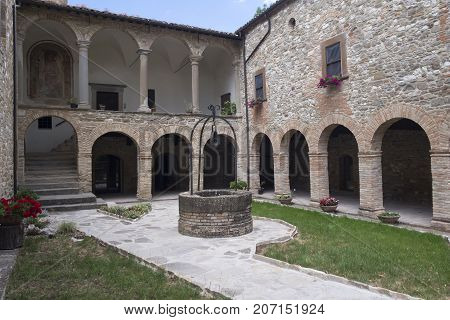 The medieval church (pieve) of San Giovanni Battista at Carpegna (Montefeltro Pesaro Urbino Marches Italy)