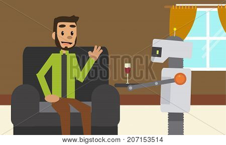 Domestic robot brings glass of red wine drink to his owner sitting at sofa. Personal robot assistance futuristic concept illustration vector.