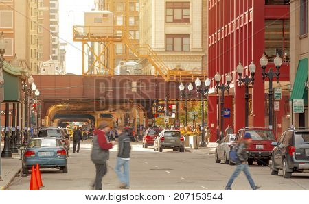 Chicago IL USA october 27 2016: view of people walking in the streets of Chicago USA