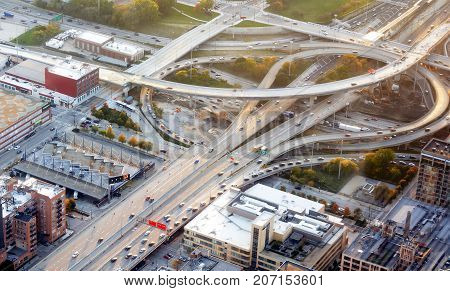 Chicago IL USA october 28 2016: Aerial view of a interstate freeway interchange